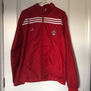 Red Adidas Cleveland Indians windbreaker. Size M